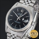 Rolex date just Ref.16234 SS white gold bezel black dial 2002