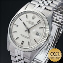 Rolex date just Ref.1601 SS white gold bezel silver mosaic dial 1972