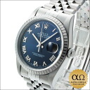 Rolex Datejust blue Roman dial engine turned bezel Ref.16220 SS automatic volume 2000, P-