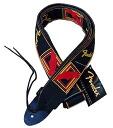 "FENDER 2 ""Monogrammed Straps BLK/YEL/RED black / red fender logo with guitar straps"