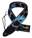 """Entering 2 FENDER """"Monogrammed Straps monogram strap BLK/L.GRAY/M.BLU black / blue fender logos guitar strap"""