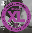 Deals D ' Addario EXL120-3D electric guitar strings D'Addario electric guitar string set 3 Pack 09 - 42