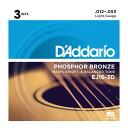 D'Addario EJ16-3D 어쿠스틱 기타 줄/3 팩