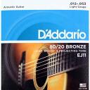 String D ' Addario EJ11 Bronze Light acoustic guitar strings D'Addario light gauge 80 / 20 bronze ( brass )