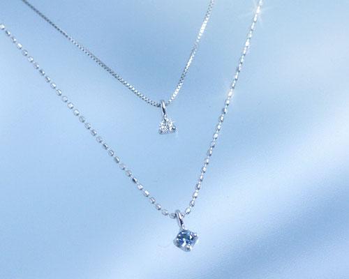 アクアマリン ダイヤモンド K10ホワイトゴールド ネックレス