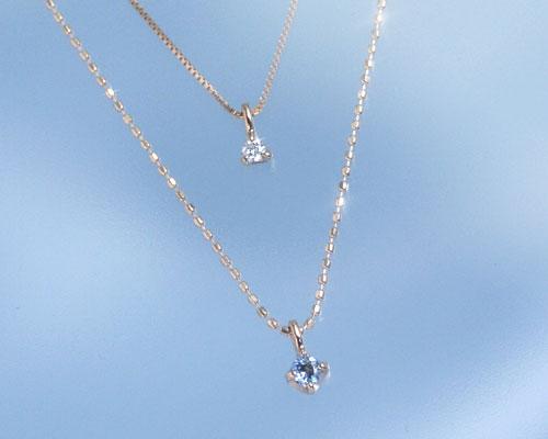 アクアマリン ダイヤモンド K10ピンクゴールド ネックレス