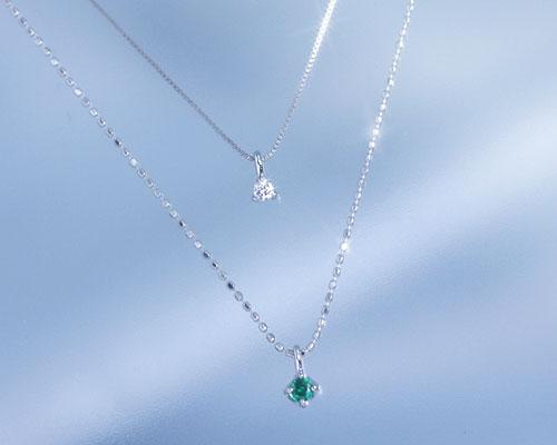 エメラルド ダイヤモンド K10ホワイトゴールド ネックレス