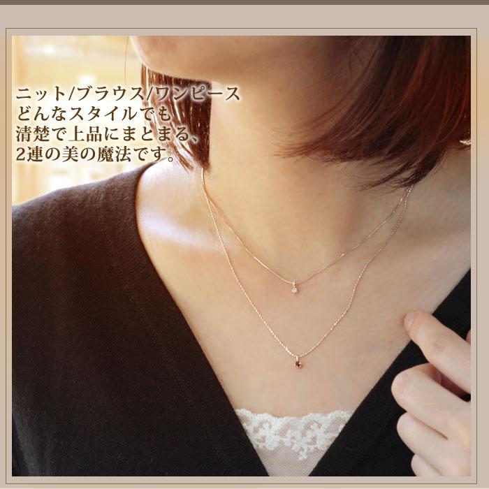 ガーネット ダイヤモンド K10ピンクゴールド ネックレス