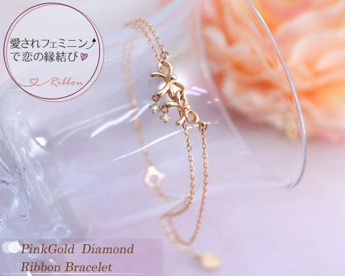 ダイヤモンド リボン ブレスレット