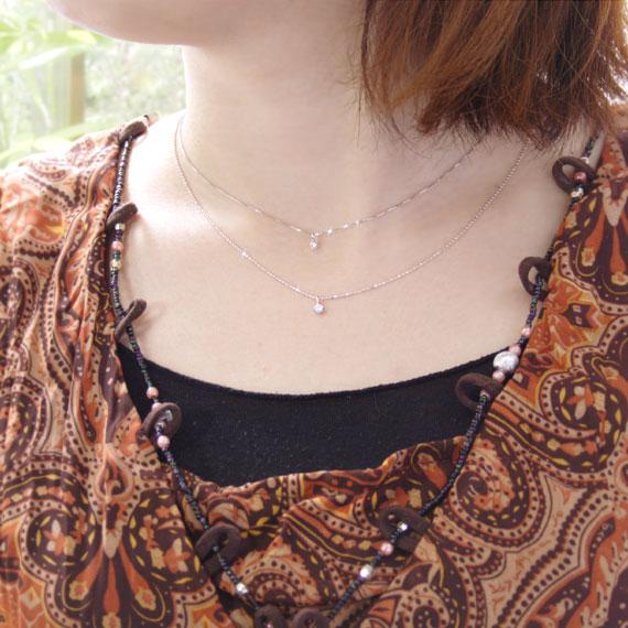 ムーンストーン ダイヤモンド K10ホワイトゴールド ネックレス