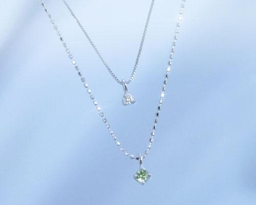 ペリドット ダイヤモンド K10ホワイトゴールド ネックレス