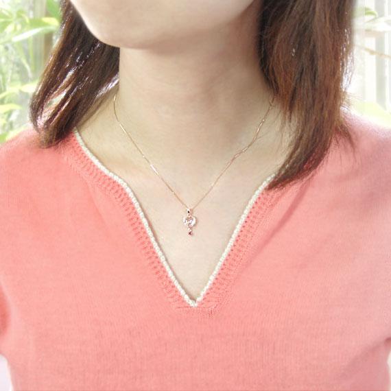 ピンクトルマリン キュービックジルコニア K10ピンクゴールド ネックレス
