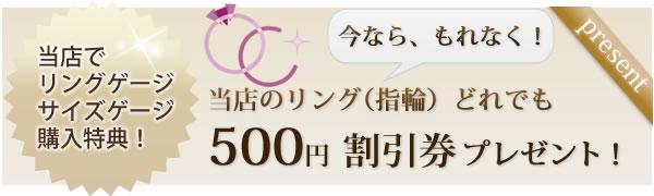 当店でリングゲージ・サイズゲージ購入特典 当店のリング(指輪)どれでも500円割引券プレゼント