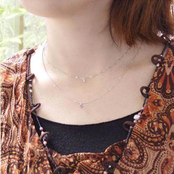 ルビー ダイヤモンド K10ホワイトゴールド ネックレス