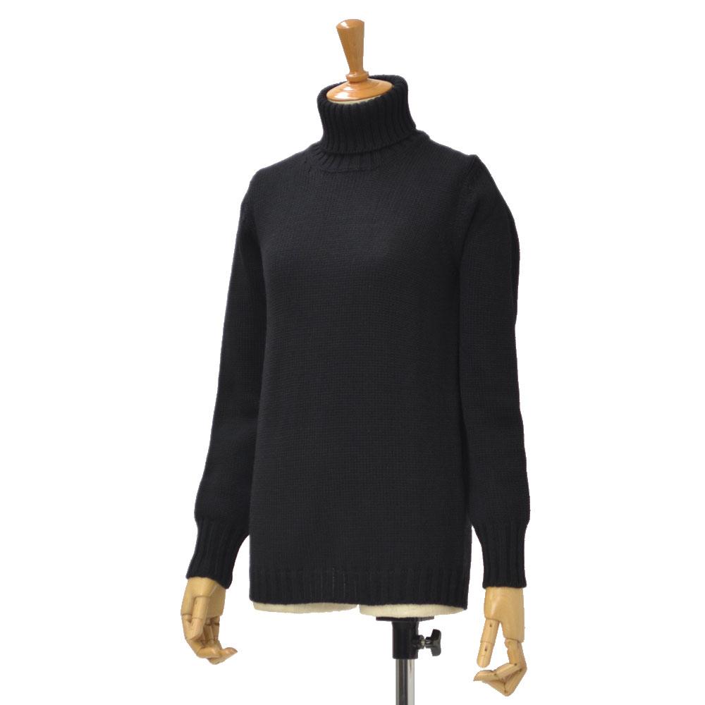 roberto collina【ロベルト コリーナ】ミドルゲージタートルネックニット P08003M 09 wool NERO(ブラック)