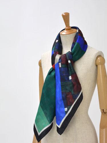 Pierre Louis Mascia【ピエールルイマシア】ダブルフェイスストール 28586 silk cotton BLUE/GREEN(ブルー/グリーン)