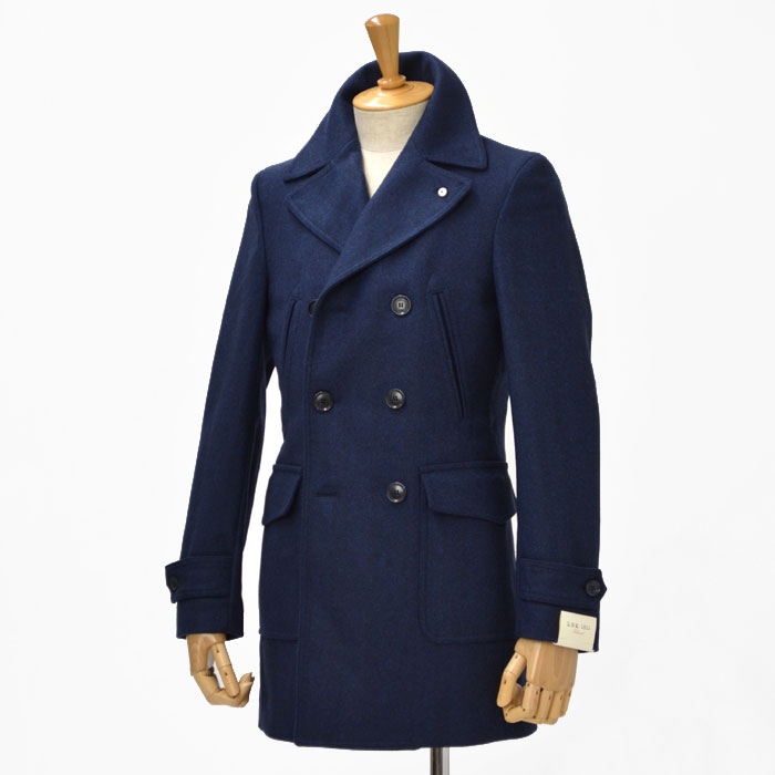 L.B.M1911【エルビーエム1911】ダブルカーコート 3L91187015  wool HERRING BONE BLUE(ヘリンボーン ブルー)