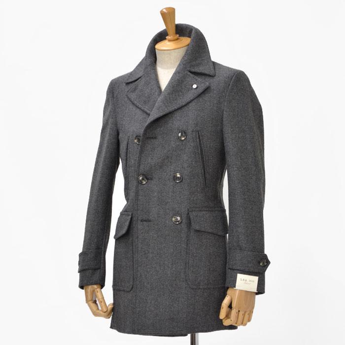 L.B.M1911【エルビーエム1911】ダブルカーコート 3L91187015  wool HERRING BONE GREY(ヘリンボーン グレー)
