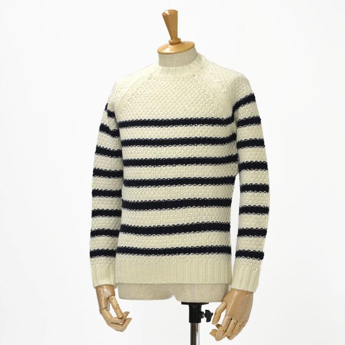 Letroyes【ルトロア/ルトロワ】クルーネック ローゲージニット LTW904 wool LATIE/MARINE(ホワイト/ネイビー)
