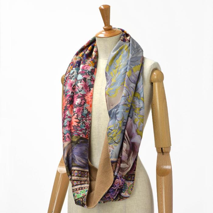 Pierre Louis Mascia【ピエールルイマシア】ダブルフェイススヌード 3874D/32856 silk wool FLOWER(フラワー)