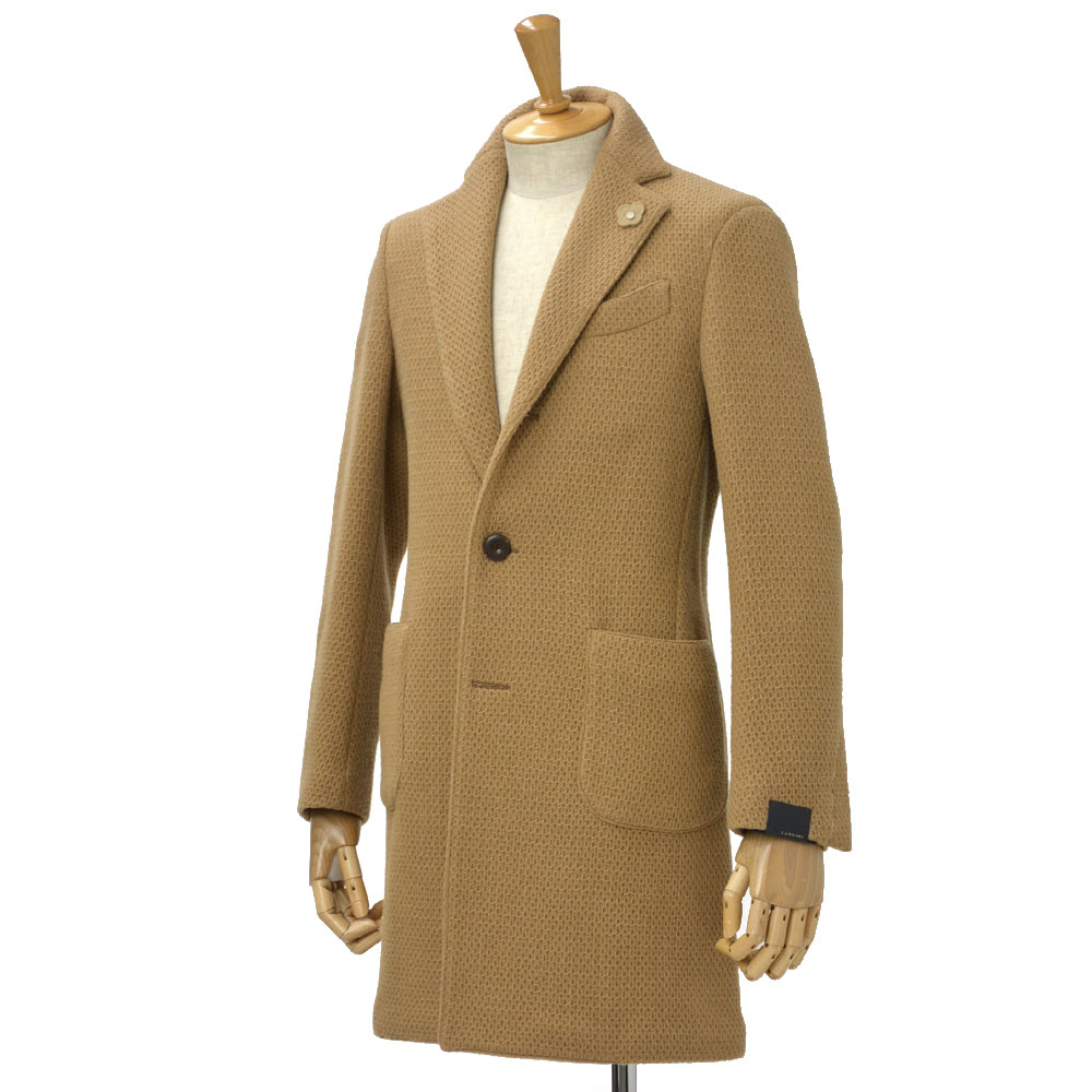 LARDINI【ラルディーニ】ハニカム調 シングルチェスターコート EASY JJ23048Q/IBA47618/1350 wool CAMEL(キャメル)
