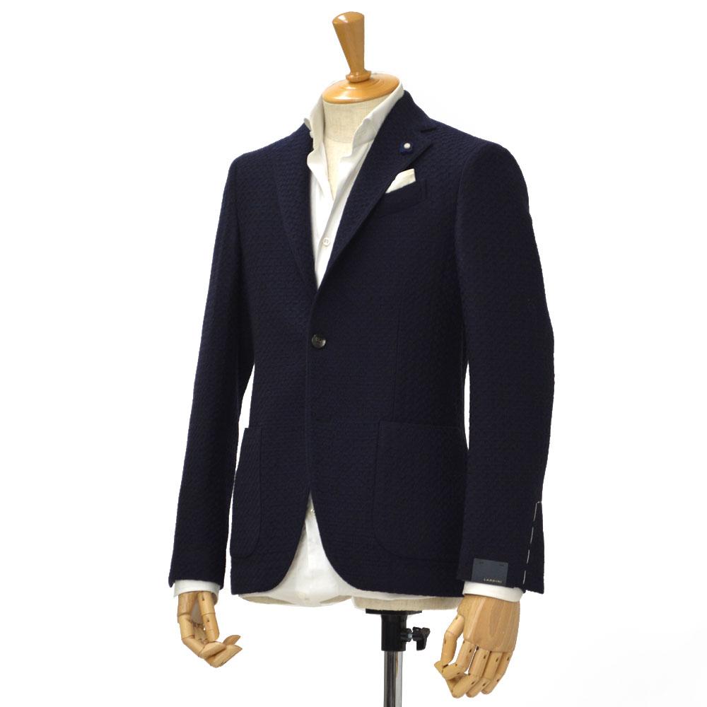 LARDINI【ラルディーニ】ジャガードワッフル シングルジャケット EASY JJ903Q/IBA47552 1 wool NAVY/BROWN(ネイビー/ブラウン)