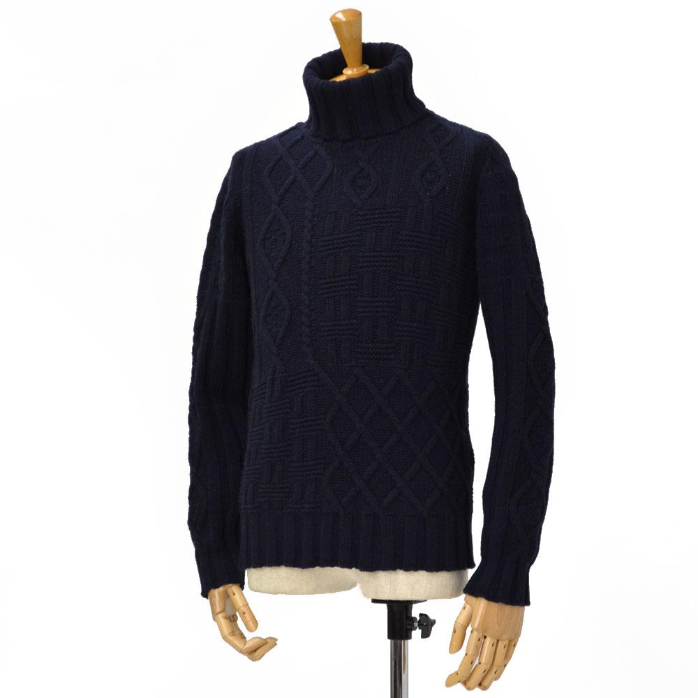 DREW&CO.【ドリューアンドコー】パッチワーク風タートルネック ニット 70889 401 wool BLUE(ブルー)