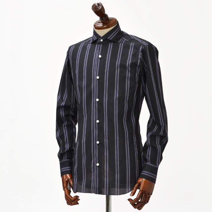 BARBA【バルバ】ドレスシャツ I BRUNO I1U262291515 cotton STRIPE BLACK×DARK PURPLE(コットン ストライプ ブラック×ダークパープル)