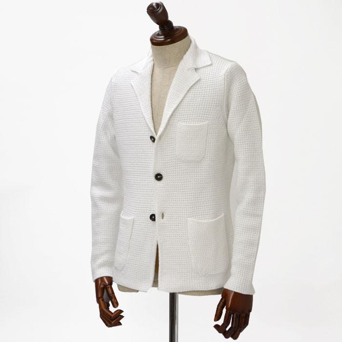 Cruciani【クルチアーニ】【春夏】ローゲージニットジャケット CU11.075 13BS 51 cotton WHITE(コットン ホワイト)