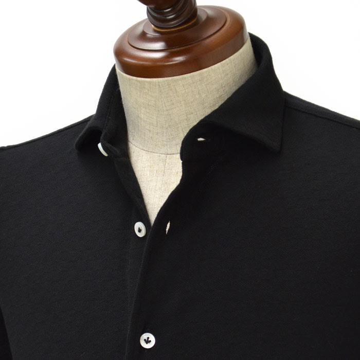 ノベルティー付き BARBA CULTO La Polo 【バルバ クルト】ジャージーシャツ AMJQ99 cotton BLACK(コットン ジャガード 鹿の子 ブラック)