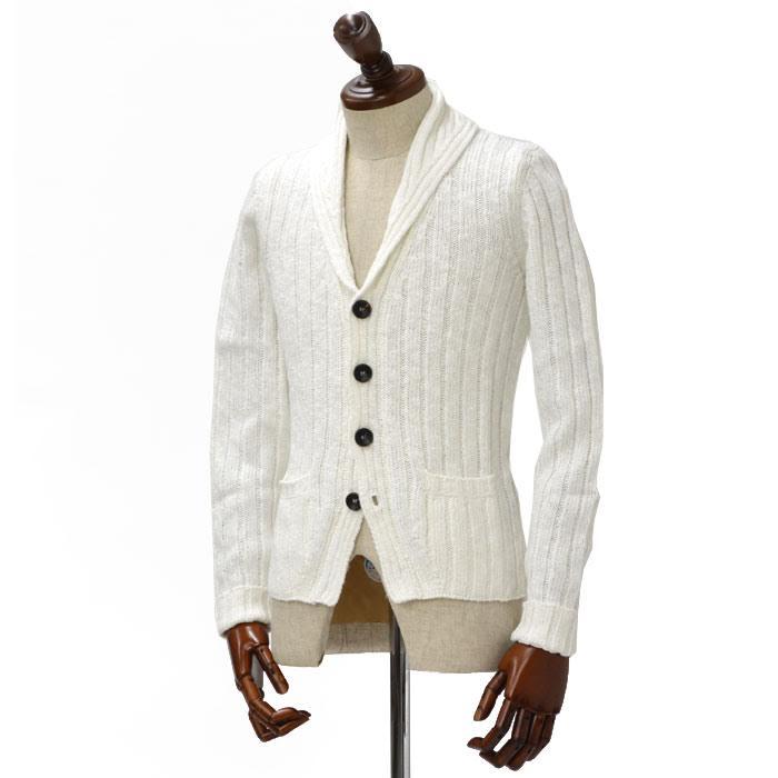 Drumohr【ドルモア】【春夏】 ショールカラーニットカーディガン OS/D5L429/2/100 cotton linen WHITE(コットン リネン ホワイト)