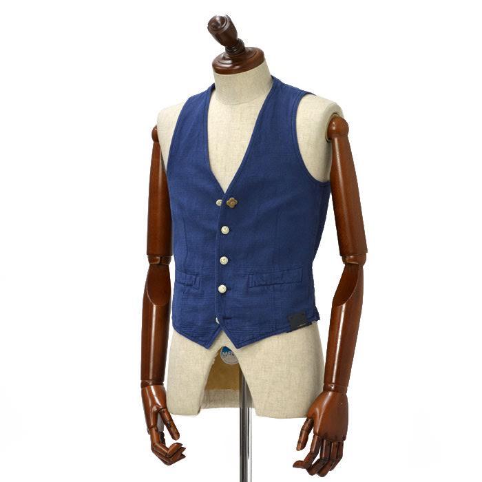 【送料無料】LARDINI【ラルディーニ】【春夏】 VEST ベスト/ジレ JI77017P EAR46212/849 linen cotton BLUE (リネン コットン ブルー)