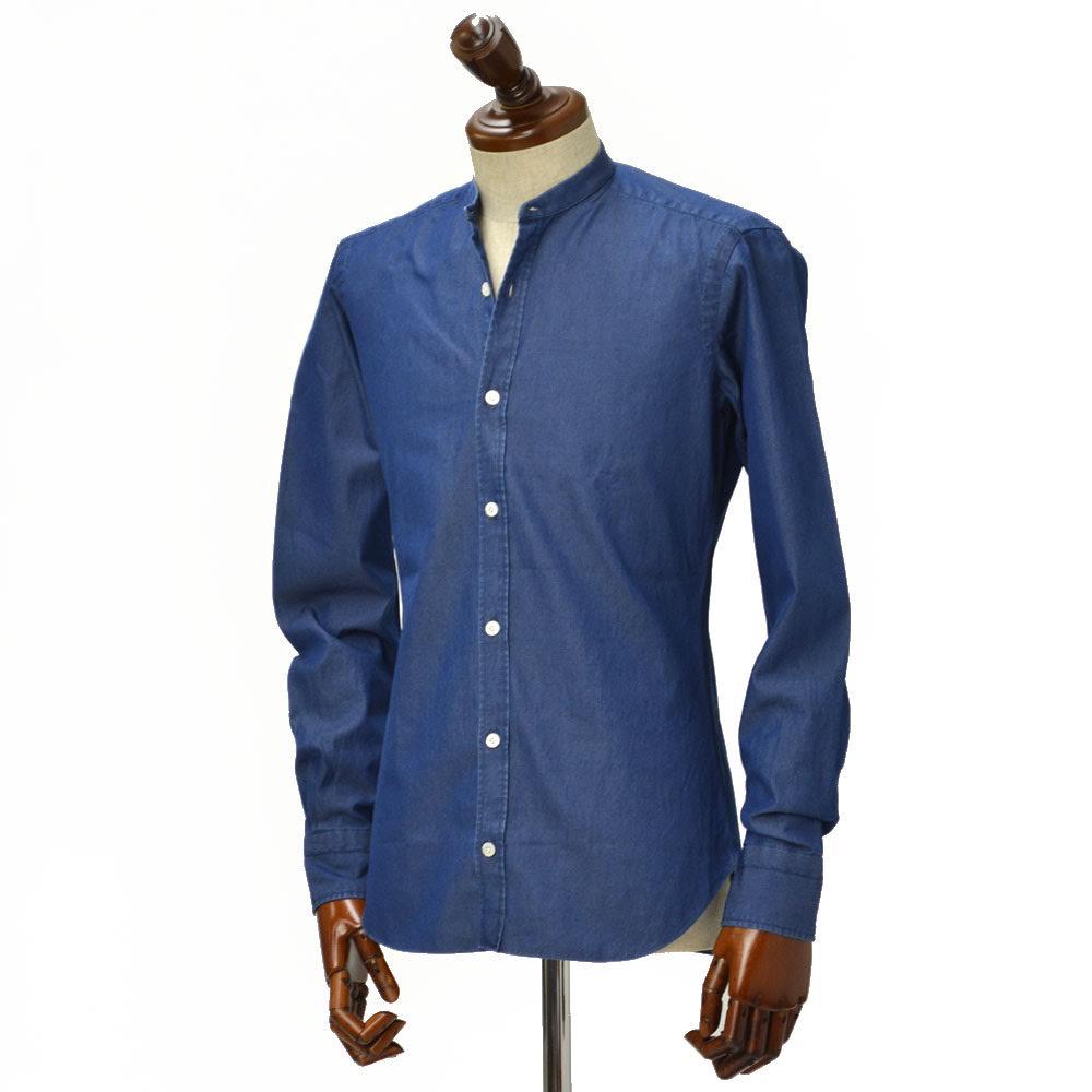 ノベルティー付き BARBA DANDY LIFE【バルバ ダンディーライフ】 バンドカラーシャツ COREANO LFU786PZ0998U cotton INDIGO(コットン ダンガリー インディゴ)