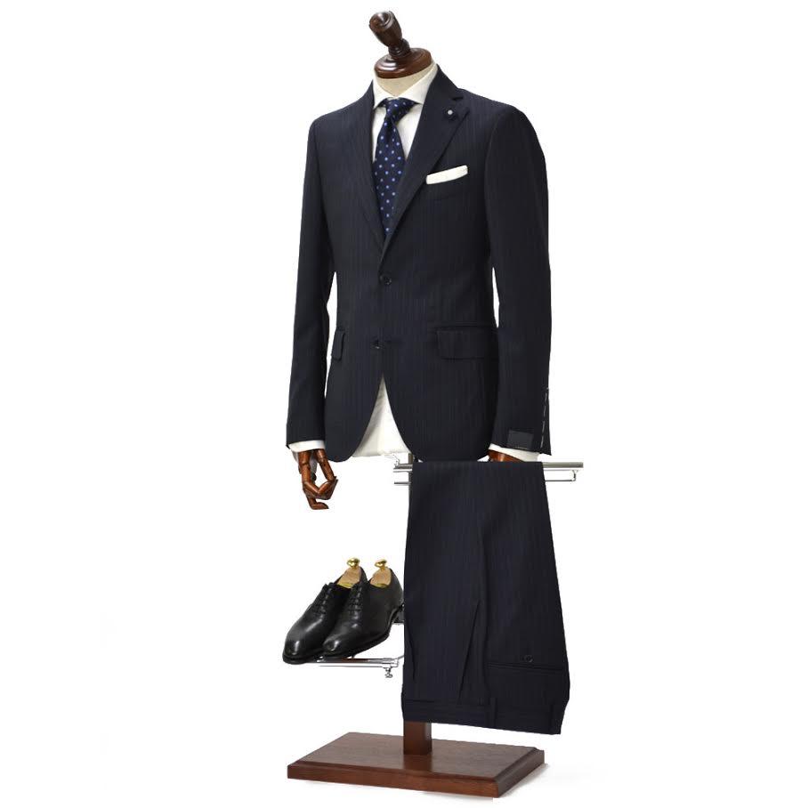 LARDINI【ラルディーニ】シングルスーツ JK94011AQ ECRP48490 6 ウール ストライプ ネイビー