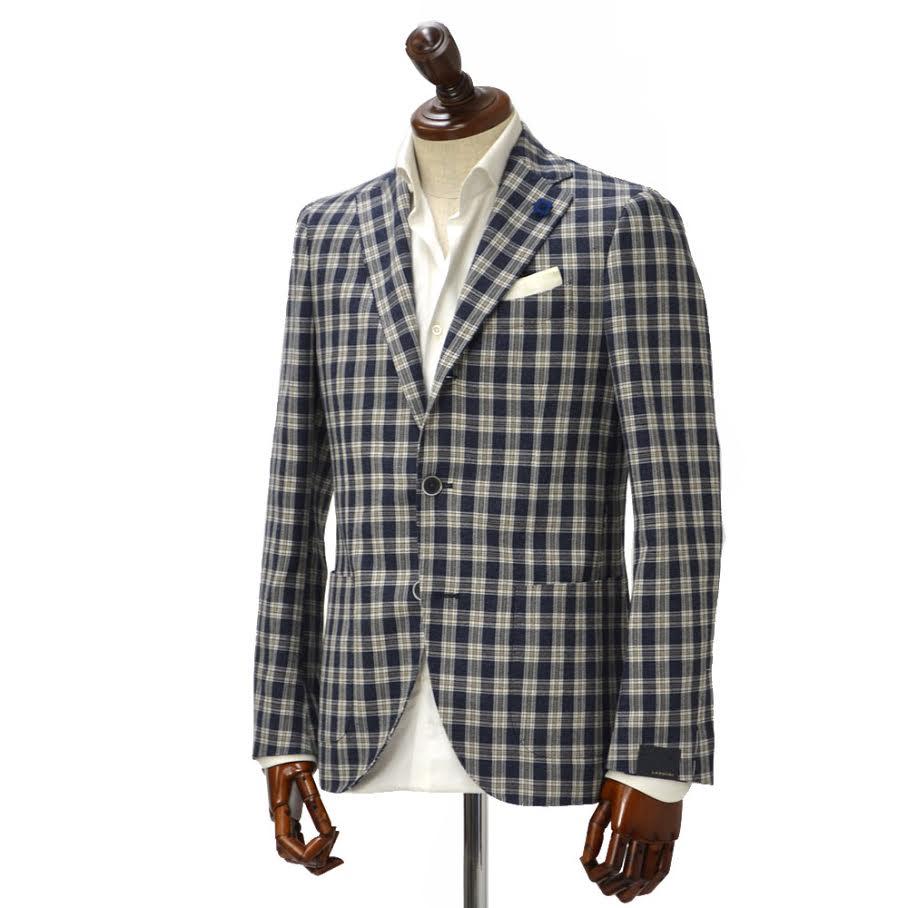 LARDINI【ラルディーニ】 シングルジャケット JK0526AQ ECRP48586 702 コットン リネン ブロックチェック ネイビー×ホワイト
