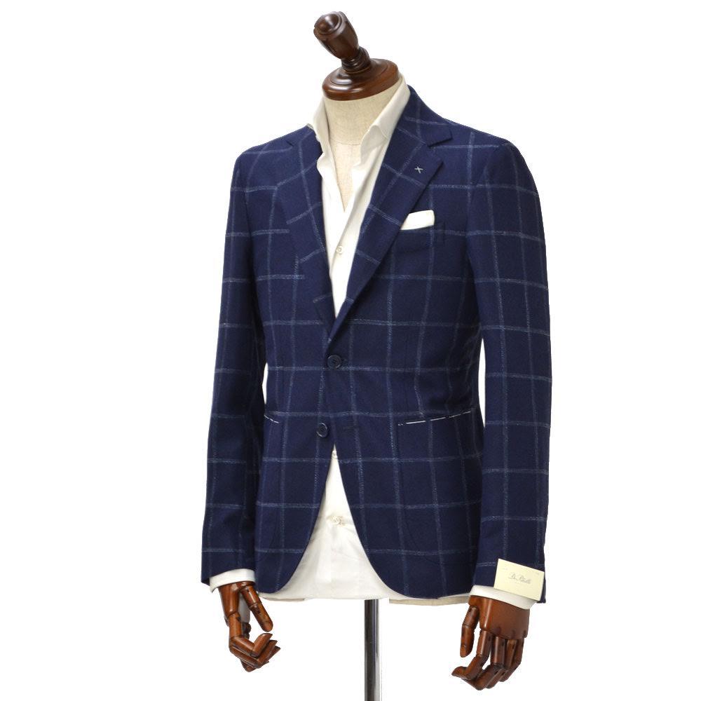 De Petrillo【デ ペトリロ】シングルジャケット Posillipo TS17082F/226 ビスコース コットン リネン ウィンドペーン ネイビー×ブルー