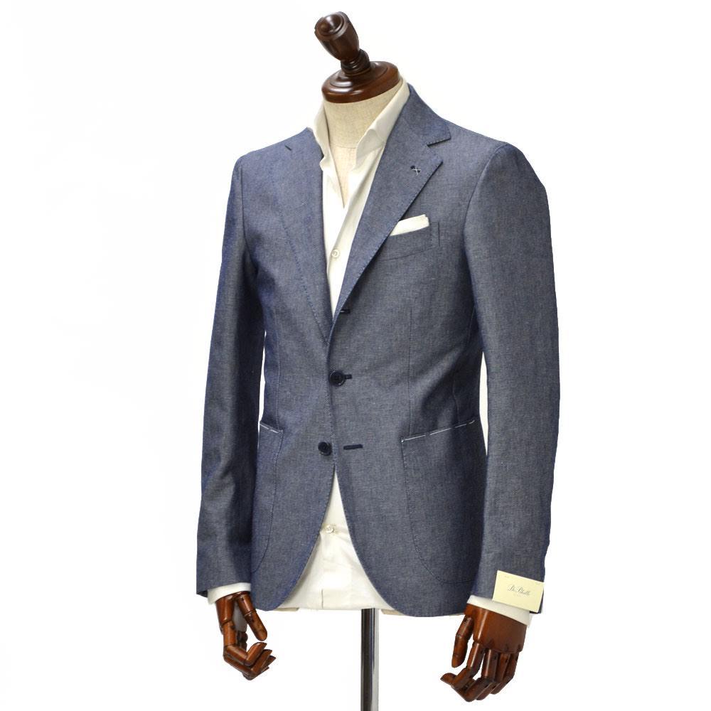 De Petrillo【デ ペトリロ】シングルジャケット Posillipo 861SU/544 コットン リネン ブルー