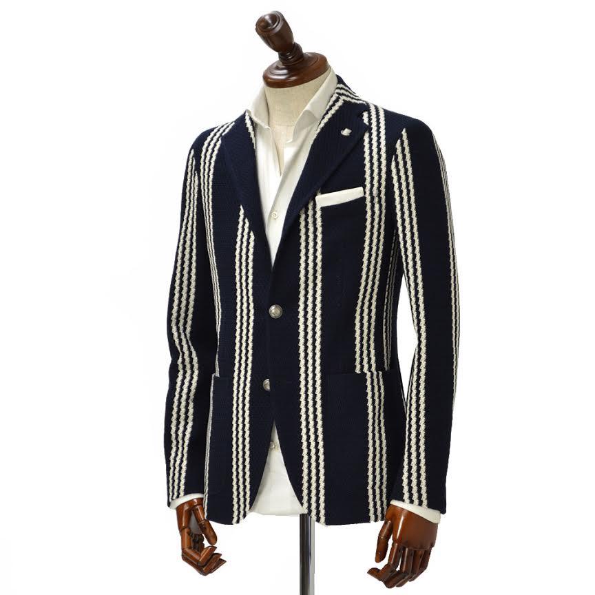 TAGLIATORE【タリアトーレ】シングルジャケット 1SMJ22K 57YEJ095 B1270 MONTECARLO モンテカルロ コットン ストライプ ネイビー×ホワイト