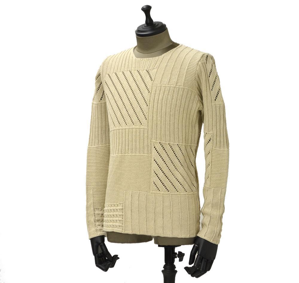 roberto collina【ロベルトコリーナ】パッチワーククルーネックニット RN20001 03 cotton patchwork NATURALE(コットン パッチワーク ベージュ)