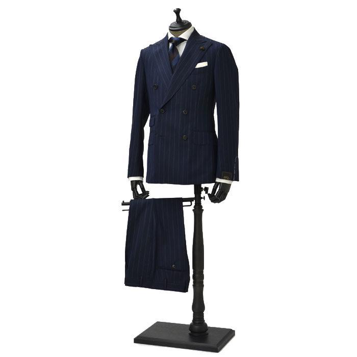 【送料無料】Gabriele Pasini【ガブリエレ パジーニ】【春夏】ダブルスーツ G60443Q G6411 13 wool stripe NAVY(ウール ストライプ ネイビー)