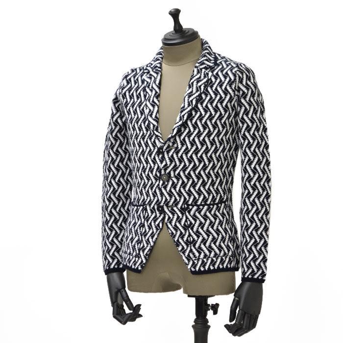 【送料無料】PANICALE【パニカーレ】シングルニットジャケット 4P454CBT 004 cotton geometoric WHITE BLACK(コットン ジオメトリック ホワイト ブラック)