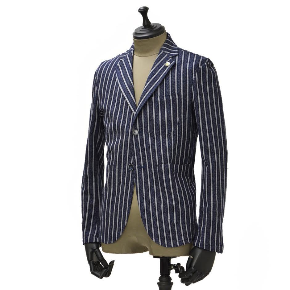 【送料無料】Giannetto【ジャンネット】シャツジャケット 6G190JK コットン ストライプ インディゴ ホワイト