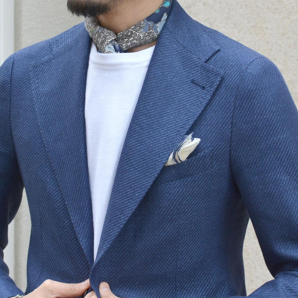 TAGLIATORE【タリアトーレ】シングルジャケット G-PL22K 12UEG224 B3026 PINO LERARIO リネン コットン ブルー