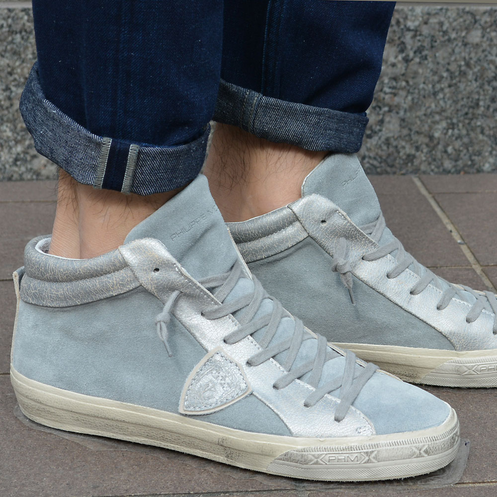 PHILIPPE MODEL【フィリップモデル】 スニーカー Middle Veau MDHU XY61 suede eather グレー シルバー