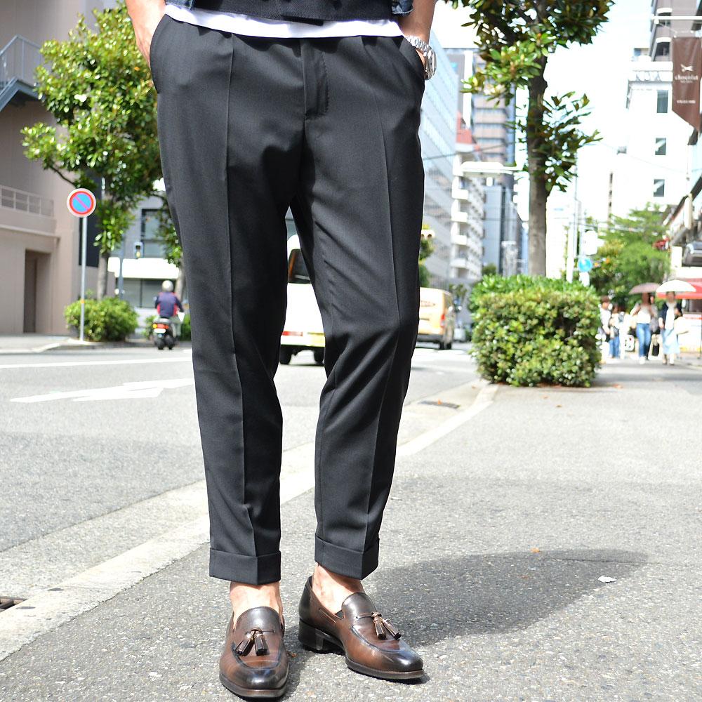 VIGANO【ヴィガーノ】1プリーツパンツ E7V6CLKD 05518 998 ウ―ル ブラック