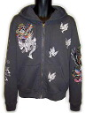 Ed Hardy mens インブロイダード Hoodie LA death or glory charcoal grey ED HARDY MENS EMBROIDERED HOODIE LA CHARCOAL GRAY