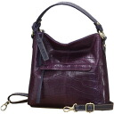 Lime ☆ マキシムクロコ L1750 ☆ purple crocodile embossing ☆ real leather 2-way shoulder bag ☆ tilted over bag ☆ travel bag