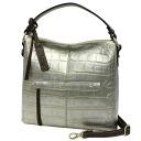 Lime ☆ Maxim Croco L1750 ☆ silver kidskin leather-shoulder NONAME hanging travel bag 60th birthday celebration giveaway 10P30Nov14