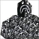 A BATHING APE (エイプ) DAZZLE CAMO SHARK FULL ZIP HOODIE (스웨트 후드) BLACK 212-000929-000 (1B30-115-016)-
