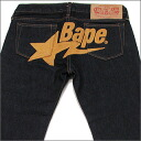 A BATHING APE (APE) LADY's (Womens) BAPESTA embroidered denim INDIGO